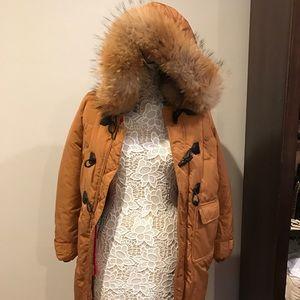 Tan fur brown parka coat jacket size small 2